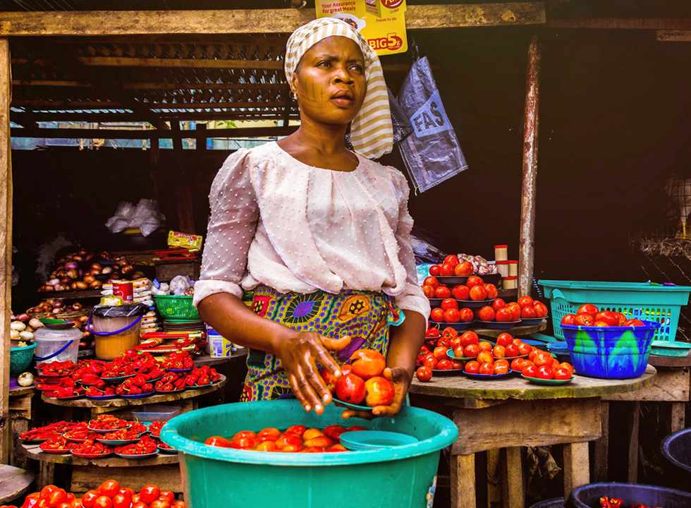 Food vendor in one African market