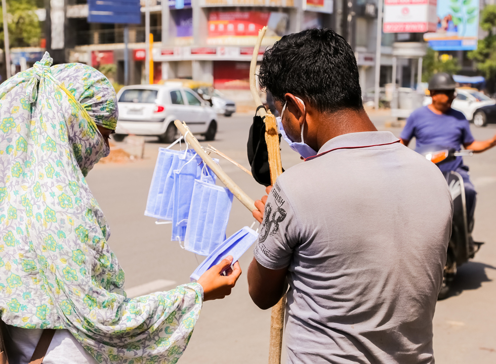 Selling face masks on streets